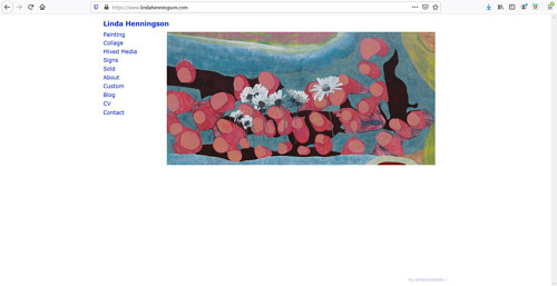 A screen capture of Linda Henningson's art portfolio website