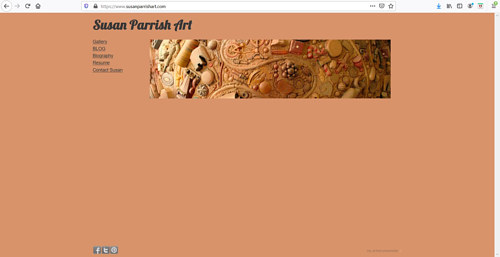 The front page of Susan Parrish's art portfolio website