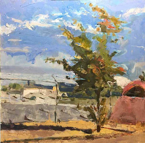 A painting of a small tree in an urban landscape