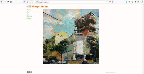 The front page of Bill Sharp's art portfolio website