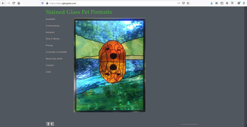 A screen capture of the front page of Evi Cundiff's art portfolio website