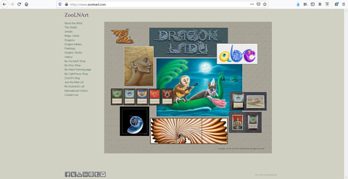 A screen capture of Sue Ellen Brown's art portfolio website