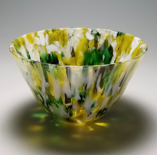 A kiln-formed glass bowl