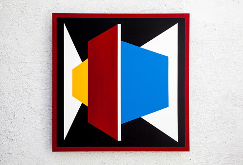 A painting of geometric forms in different colours