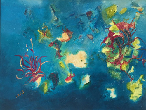 A painting with abstracted, sea-creature-like forms