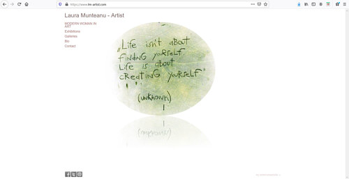 The front page of Laura Munteanu's art portfolio website