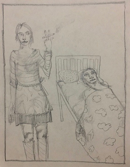 A drawing of a woman smoking next to another woman in bed