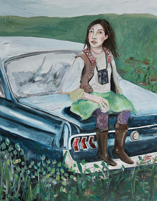 A painting of a woman sitting on a car in a field