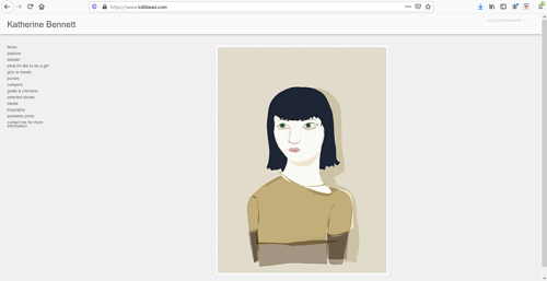 A screen capture of Katherine Bennett's art portfolio website
