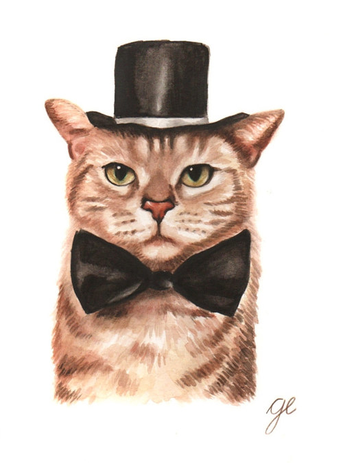A watercolour painting of a cat in a top hat and bowtie