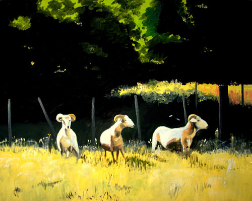 A painting of three white rams in a meadow