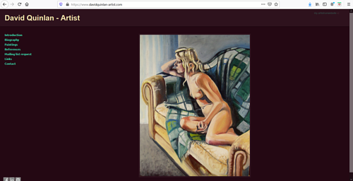 A screen capture of David Quinlan's art portfolio website