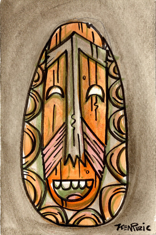 A drawing of a tiki mask