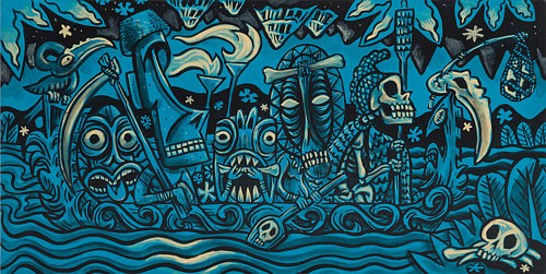A painting of a complex tiki-styled scene with deep blue hues