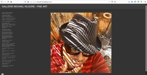 A screen capture of Michael Kilgore's art portfolio website