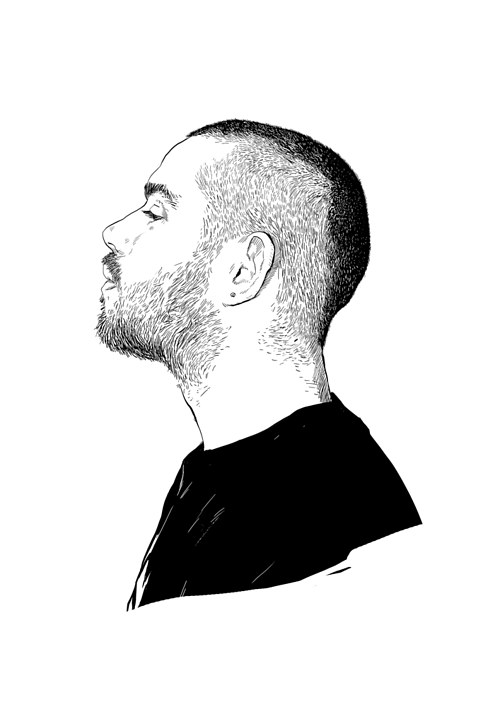 A digital illustration of a man in profile