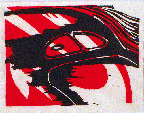 A linoleum print with red and black colours