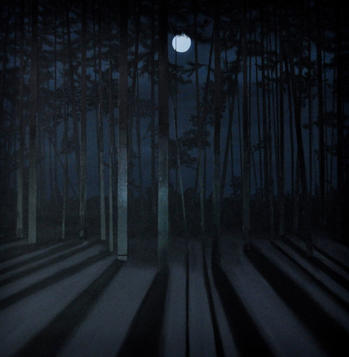 A dark painting of a moon in the forest