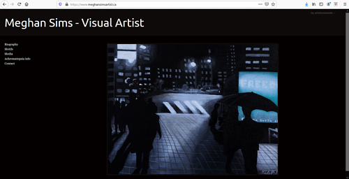 A screen capture of Meghan Sims art portfolio website