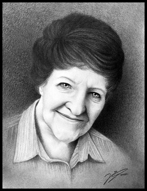 A graphite portrait of a woman
