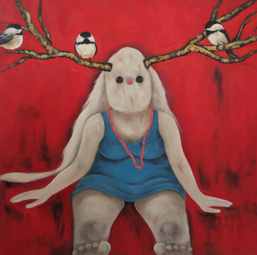 A painting of a stuffed bunny in a blue dress with branch-like antlers