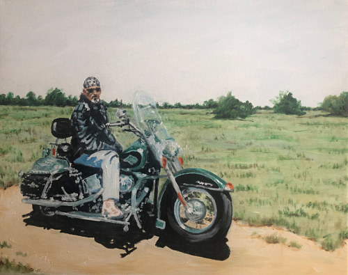 A painting of a man on a motorcycle
