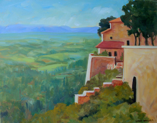 A painting of the italian countryside