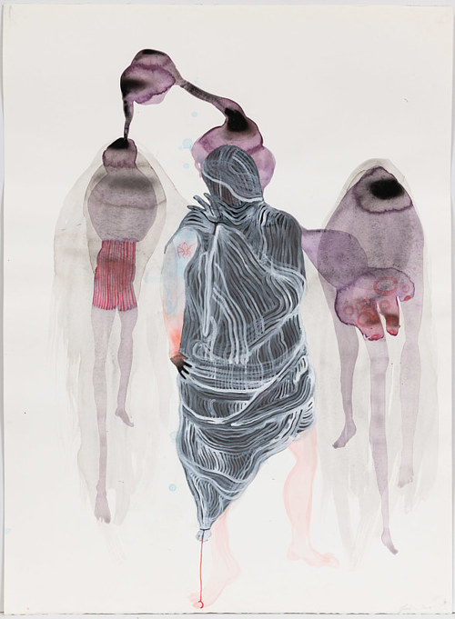 A watercolour painting with mysterious, abstracted figures