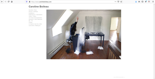 A screen capture of Caroline Boileau's art portfolio website