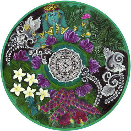 A round painting with Indian imagery