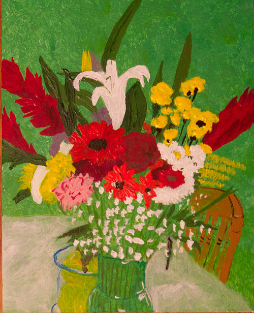 A painting of a bouquet of flowers on a table