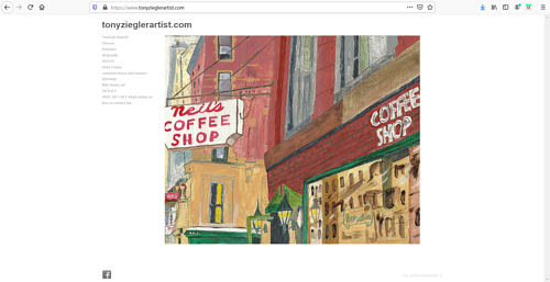 The front page of Tony Ziegler's art portfolio website