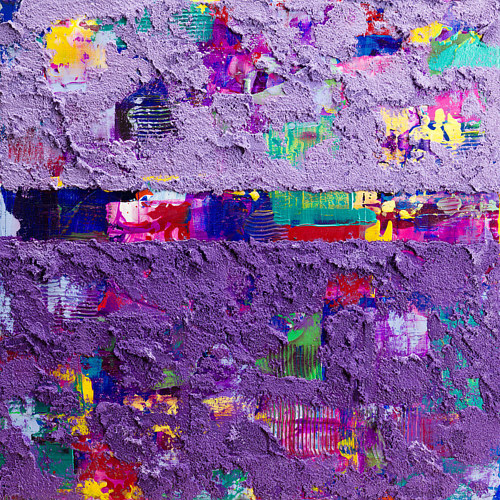 An abstract painting with a textured purple overcoat
