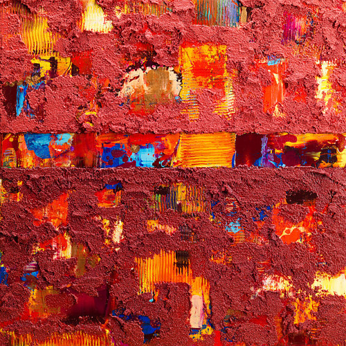 A painting with textured, coloured pumice as a top coat