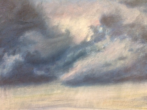An oil painting of a cloud formation