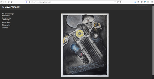A screen capture of T. Dave Vincent's art portfolio website