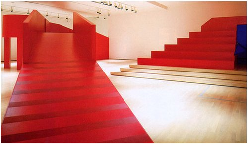 red structure in an art gallery
