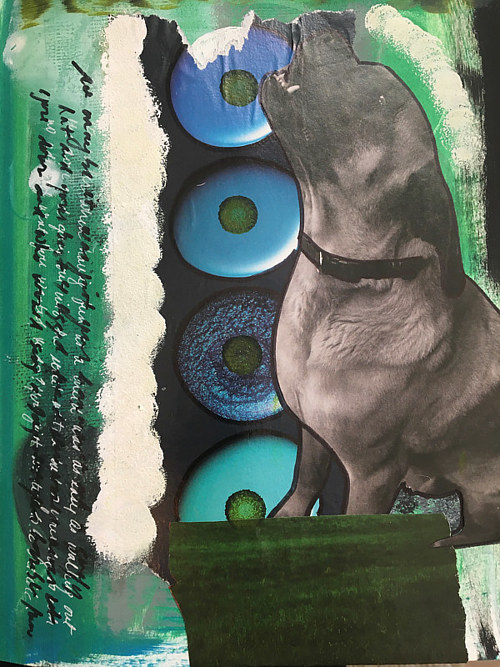 A mixed media collage with a central figure of a dog