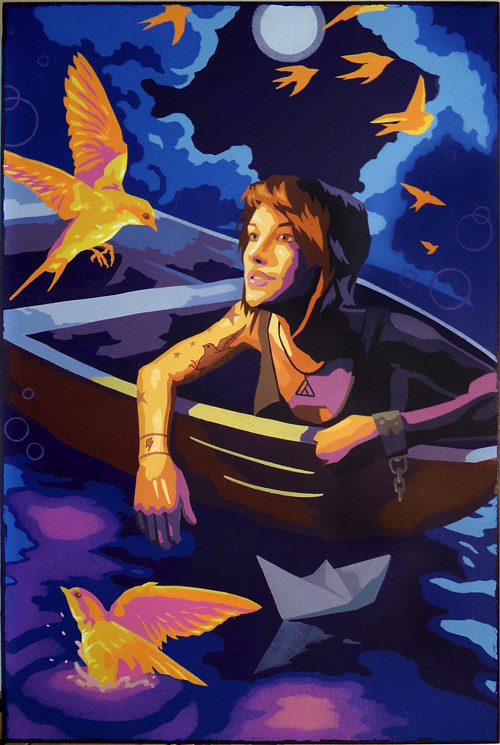 A painting of a woman in a boat with birds