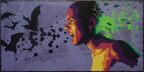 A painting of a person yelling with bat details