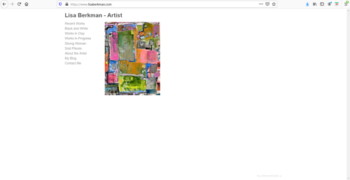 The front page of Lisa Berkman's art portfolio website