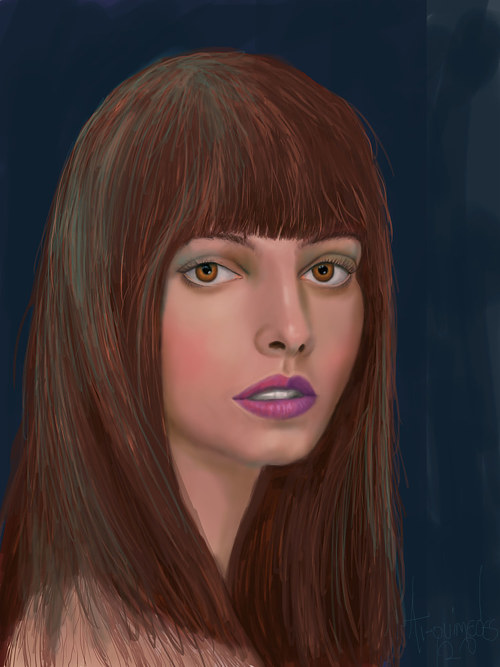 A potrait of a woman with long brown hair
