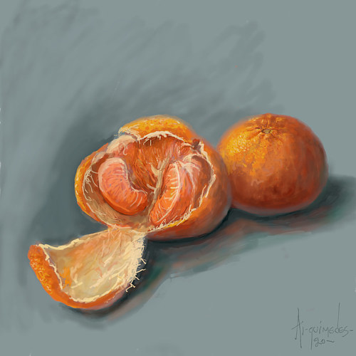 A painting of a half-peeled mandarin orange