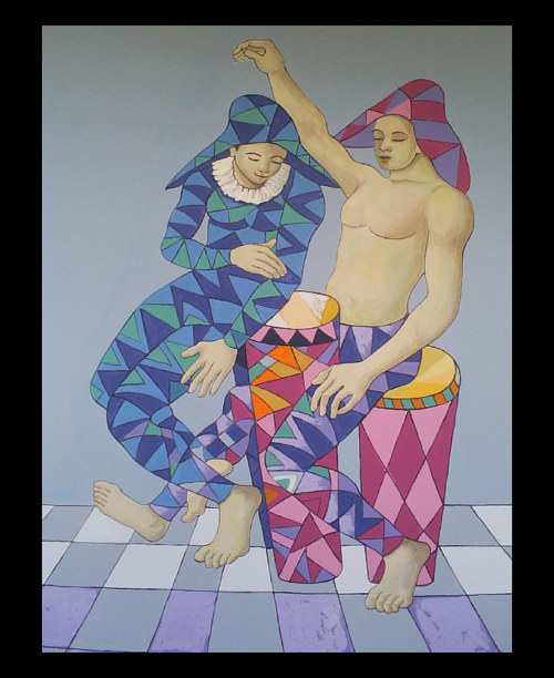 A painting of two harlequin figures dancing