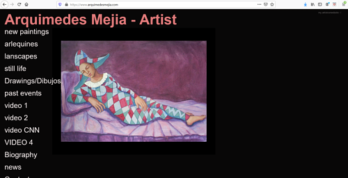 A screen capture of Arquimedes Mejia's art portfolio website