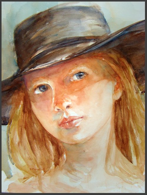 close up water-color painting of woman wearing a hat