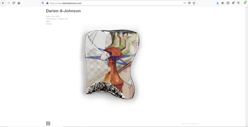 The front page of Darien A. Johnson's art portfolio website