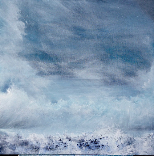 A print of an original painting of a misty blue seascape