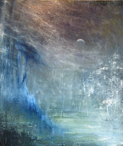 A layered painting of a new moon over a creek