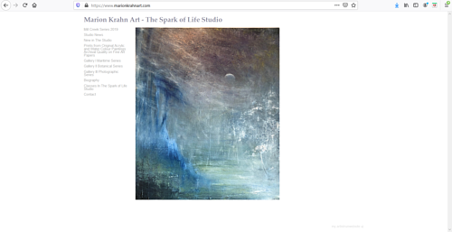 The front page of Marion Krahn's art portfolio website
